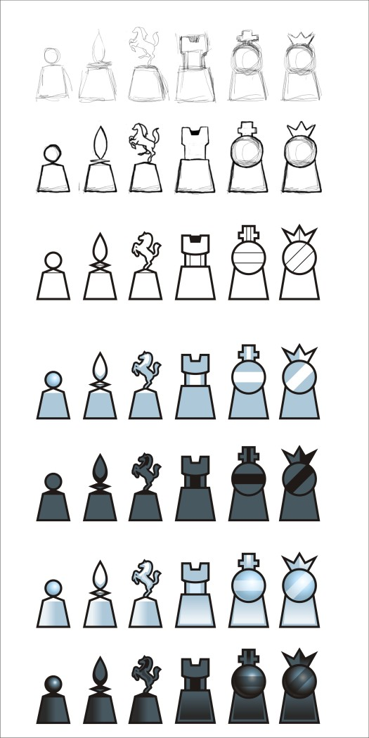 vector chess set pieces