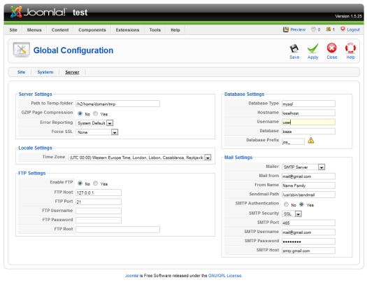 example of smtp settings for joomla 1.5